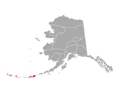Map of Aleutians West in Alaska 向量圖像