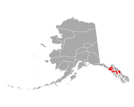 Map of Hoonah-Angoon in Alaska 向量圖像