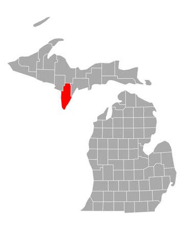 Map of Menominee in Michigan