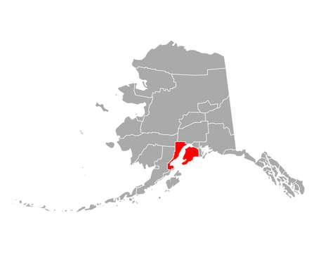 Map of Kenai Peninsula in Alaska 向量圖像