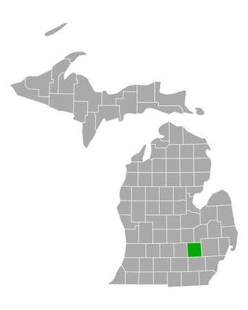 Map of Livingston in Michigan Ilustração
