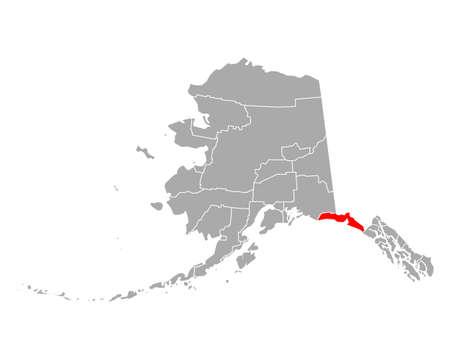 Map of Yakutat in Alaska