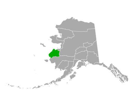 Map of Wade Hampton in Alaska 向量圖像