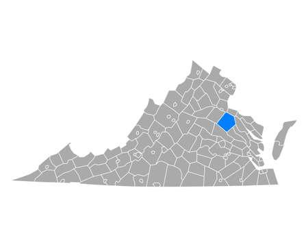 Map of Caroline in Virginia