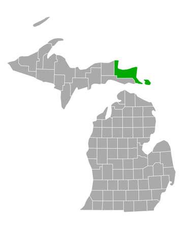 Map of Chippewa in Michigan 向量圖像