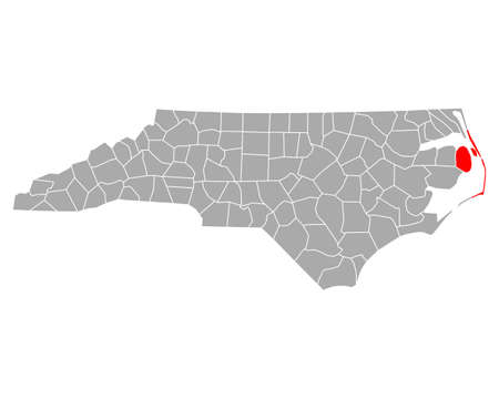 Map of Dare in North Carolina Illustration