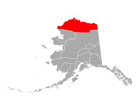Map of North Slope in Alaska 向量圖像