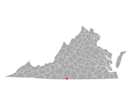 Map of Danville in Virginia