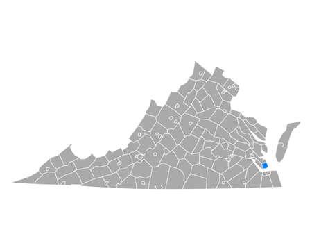 Map of Hampton in Virginia
