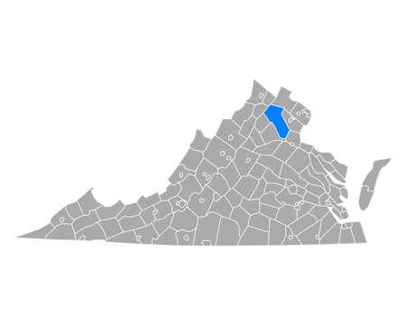 Map of Fauquier in Virginia Ilustrace