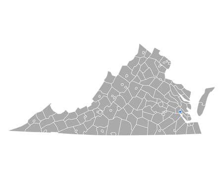 Map of Williamsburg in Virginia