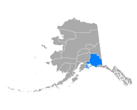 Map of Valdez-Cordova in Alaska 向量圖像
