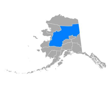 Map of Yukon-Koyukuk in Alaska 向量圖像