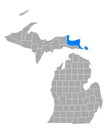Map of Chippewa in Michigan Иллюстрация