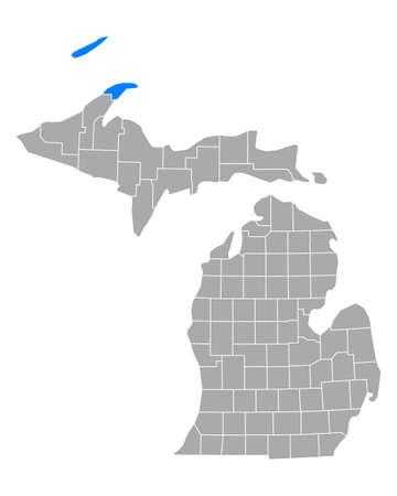 Map of Keweenaw in Michigan