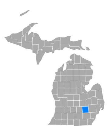 Map of Livingston in Michigan Иллюстрация