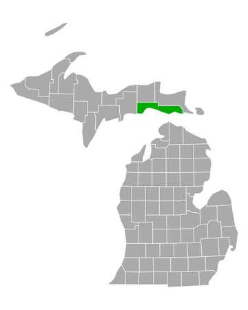 Map of Mackinac in Michigan