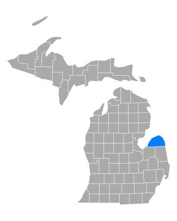 Map of Huron in Michigan