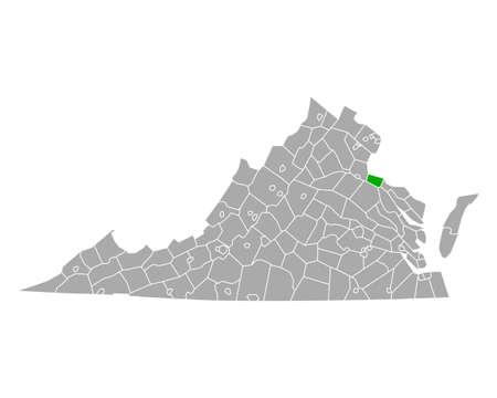 Map of King George in Virginia Ilustração