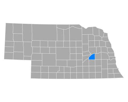Map of Polk in Nebraska Ilustração