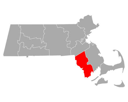 Map of Bristol in Massachusetts Ilustração