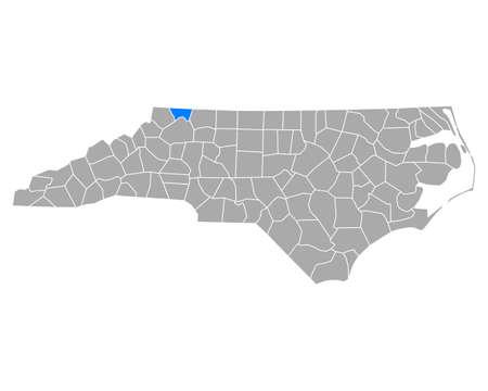 Map of Alleghany in North Carolina