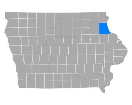Map of Clayton in Iowa Ilustração