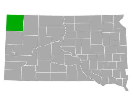 Map of Harding in South Dakota Ilustração