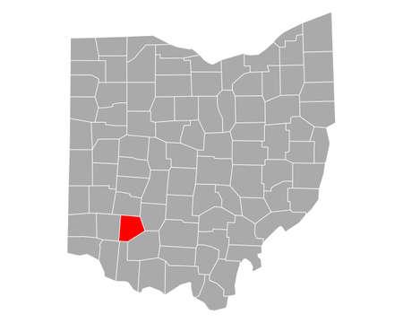 Map of Clinton in Ohio Ilustração