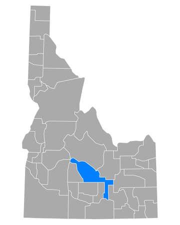 Map of Blaine in Idaho Ilustração