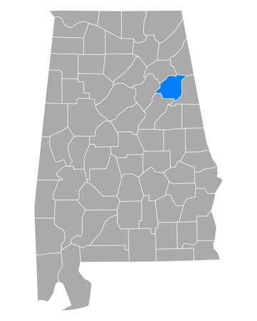 Map of Calhoun in Alabama
