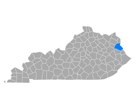 Map of Lawrence in Kentucky
