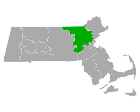 Map of Middlesex in Massachusetts