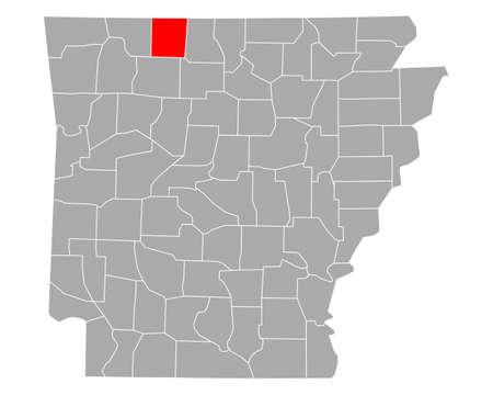 Map of Boone in Arkansas Ilustração