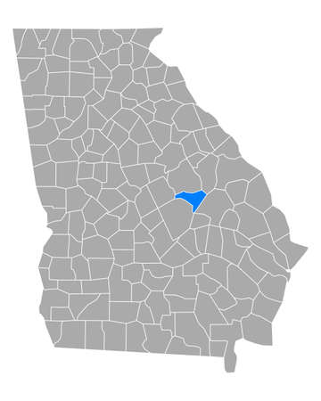 Map of Johnson in Georgia Ilustração
