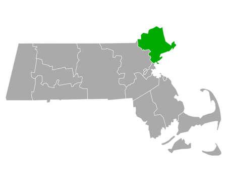 Map of Essex in Massachusetts