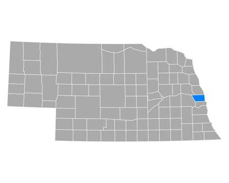 Map of Douglas in Nebraska Ilustração