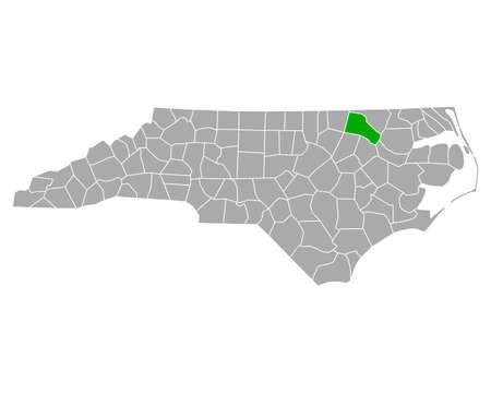 Map of Halifax in North Carolina Ilustração