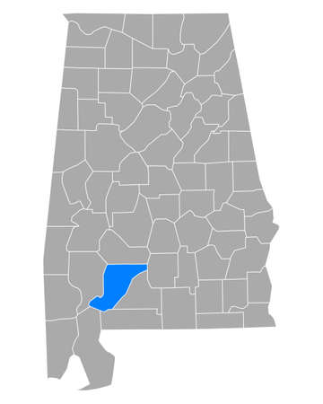 Map of Monroe in Alabama