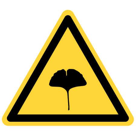 Ginkgo leaf and danger sign
