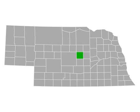 Map of Valley in Nebraska Illustration