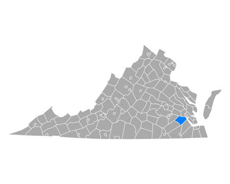 Map of Surry in Virginia