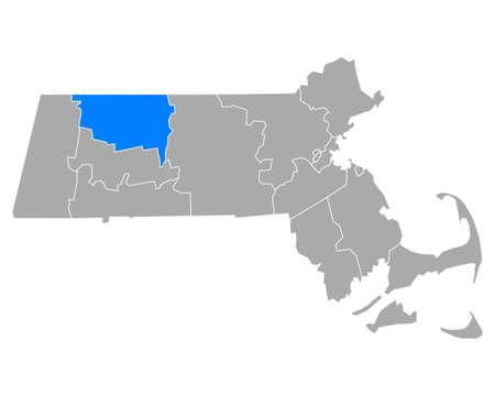 Map of Franklin in Massachusetts
