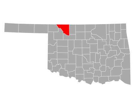 Map of Woods in Oklahoma