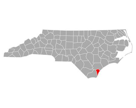 Map of New Hanover in North Carolina