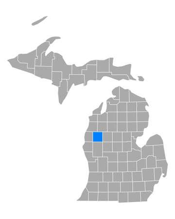 Map of Lake in Michigan Иллюстрация