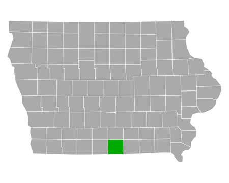 Map of Wayne in Iowa