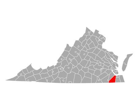 Map of Suffolk in Virginia Ilustração