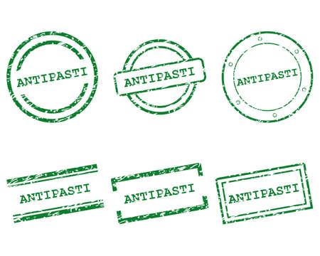 Antipasto stamps illustration.