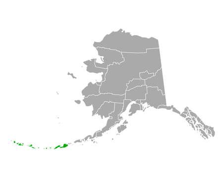 Map of Aleutians West in Alaska illustration. Иллюстрация